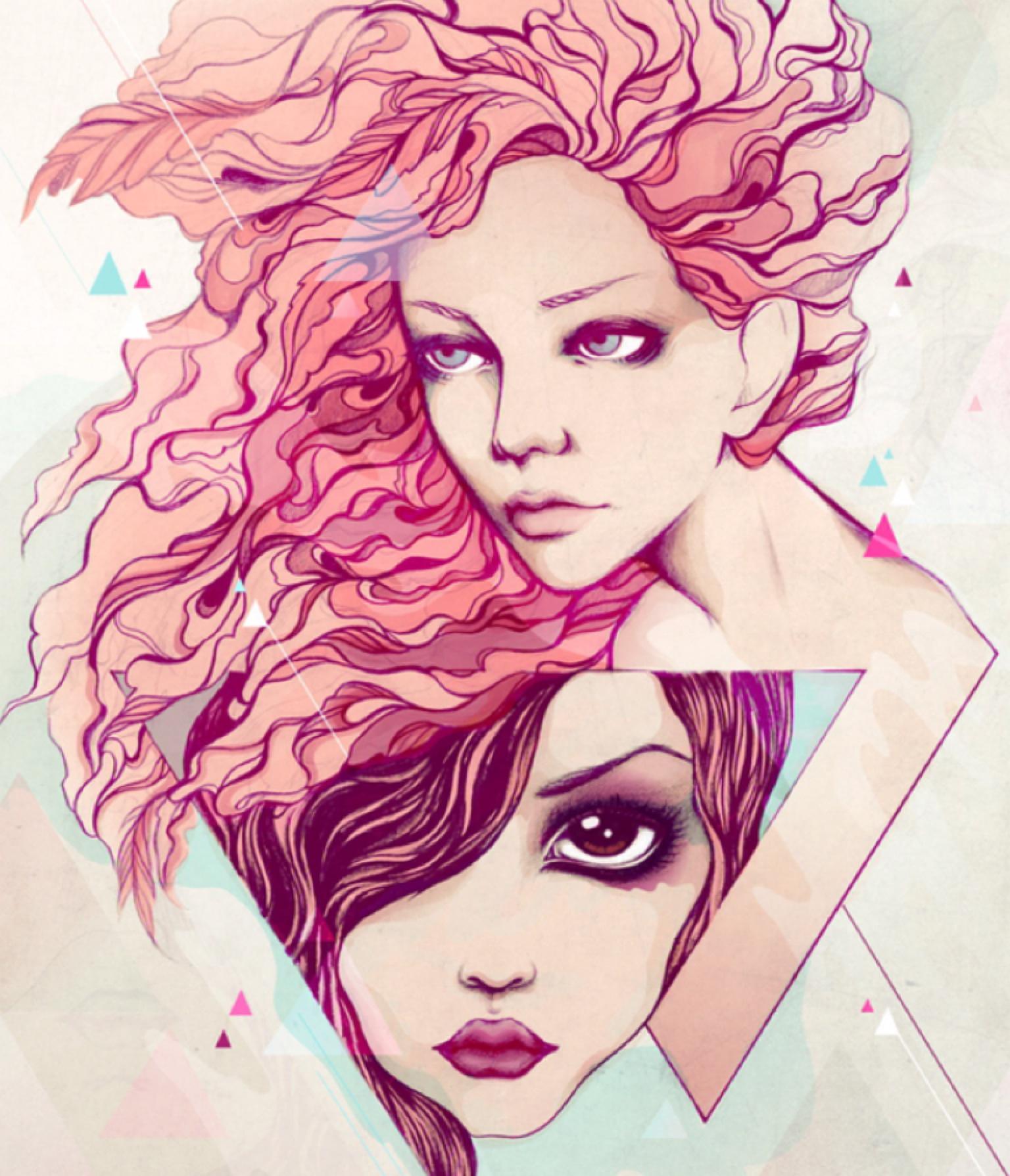 Рисунки девушек с распущенными волосами