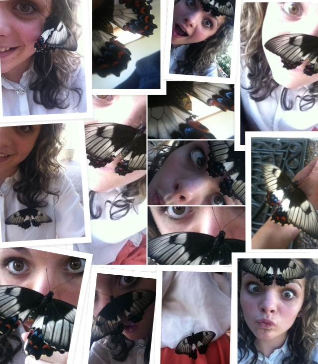 Me and my new butterfly friend :3 its super pretty :D <3