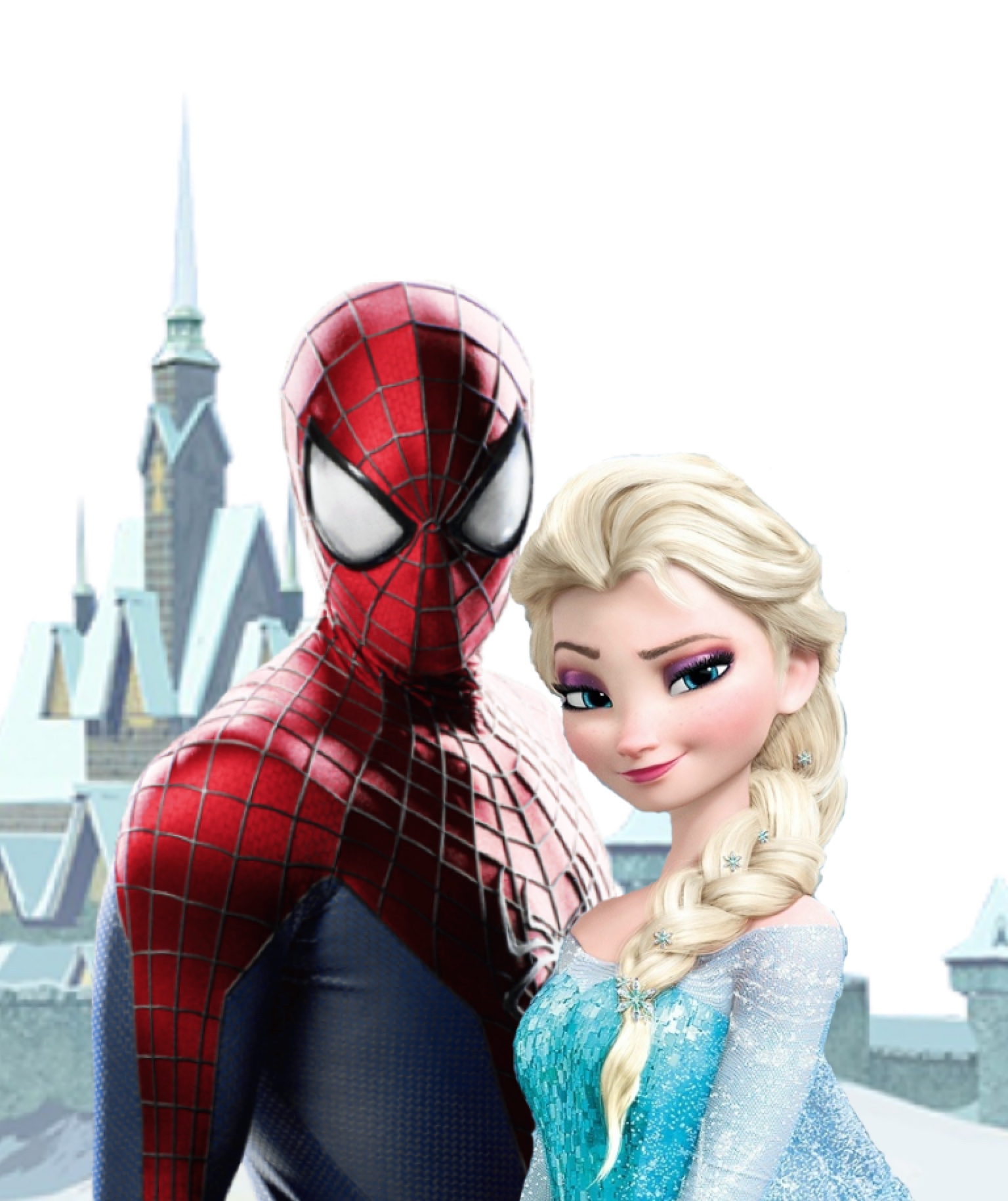 Spiderman Elsa on Frozen Coloring Pages