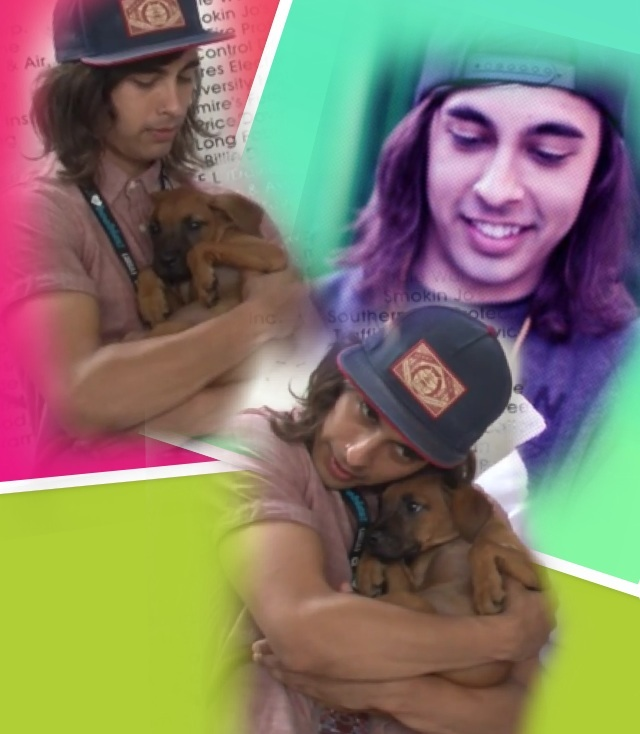 Vic Fuentes with a puppy :3